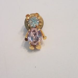 Gold Tone Bear Pin Pink And Clear Rhinestones